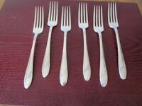 Oneida QUEEN BESS Set of 6 Dinner Forks Community Silverplate Flatware Lot B