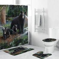 Bear Bathroom Rug Set Shower Curtain Thick Bath Mat Non-Slip Toilet Lid Cover