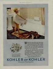 1925 KOHLER BATHROOM FIXTURES AD / CUTE BOY & BATHTUB SCENE....N120