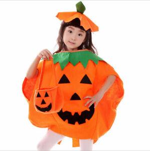 Halloween Kids Pumpkin Costume Girls Fancy Dress Thanksgiving Party Outfit UK