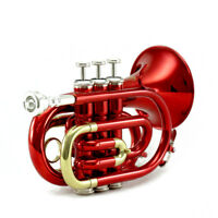 Top Quality Bb Red Plated Brass Pocket Trumpet w Strong Case 7c Mouthpiece Red