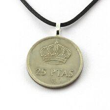Collier pièce de monnaie Espagne 25 pesetas Juan Carlos I étoile