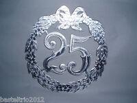 Jubiläumszahl 25 silberne Silberhochzeit Hochzeit Krepprosen Türdeko Jubiläum
