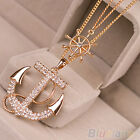 New Vogue Women Two Layer Alloy Rhinestone Anchor Ship Wheel Pendant Necklace