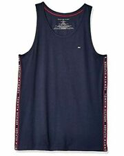 Tommy Hilfiger Mens Shirt Navy Blue Size Large L Tank Top Logo-Trim $28 #067