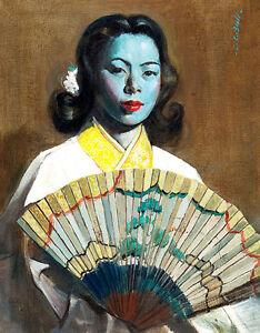 The Fan 3 A1+ by Cedric Calvert Beal Tretchikoff Era Retro Quality Canvas Print