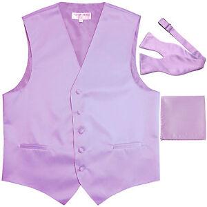New Men's lavender vest Tuxedo Waistcoat self tie bow tie and hankie set