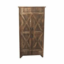 Rustic Distressed Natural Wood Farmhouse Floor Storage Cabinet with Double Door  sc 1 st  eBay & Farmhouse Kitchen Storage Cabinets for sale | eBay