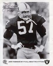 JERRY ROBINSON LOS ANGELES RAIDERS FOOTBALL PLAYER SIGNED PHOTO AUTOGRAPH