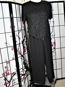 BEADED COCKTAIL PALAZZO PANT SUIT SEPARATE PLUS BLACK 3X/22W