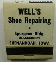 !Well's Shoe Repairing Shenandoah IW Quality Full Unstruck Vintage Matchbook Ad