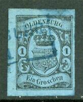 Germany 1859 Oldenburg 1Gr Blue SG #11 VFU G225 ⭐⭐⭐⭐⭐