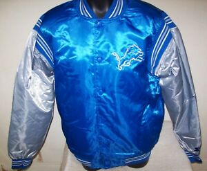 DETROIT LIONS Starter Throwback Snap Down Jacket S M L XL 2X BLUE/SILVER