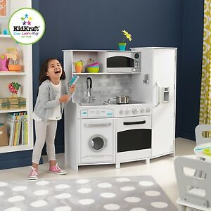 Kidkraft White Large Play Kitchen with Lights and Sounds 53369   Kids Wooden