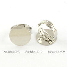 5 Pcs Platinum Flat Round Brass Pad Ring Settings Adjustable Ring Base Findings