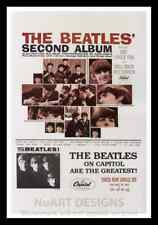 """Framed Vintage Style Rock 'n' Roll Poster """"THE BEATLES' - SECOND ALBUM"""";12x18"""
