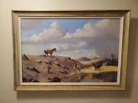 "Florent Baecke impressionist landscape OIL PAINTING Horses San Antonio 36"""