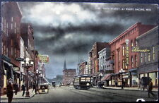 RACINE WI ~ 1900's MAIN STREET AT NIGHT ~ BIJOU PICTURES 5 Cents