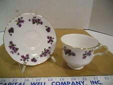 Queen Anne English Bone China Purple Violets Floral Tea Cup & Saucer Set - EUC