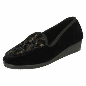 Ladies X2R016 Slip On Wedge Heel Full Shoe House Slipper By Spot On £9.99