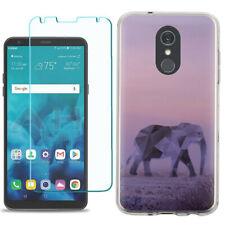 TPU Phone Case for LG Stylo 5 w/ Tempered Glass - Elephant/Twilight