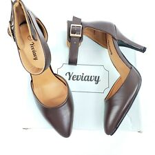 New Yeviavy Lucia Women's High Heels Pumps Dress Shoes Brown Size 7