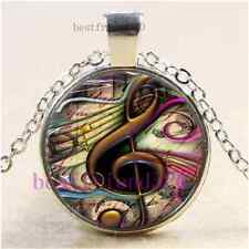 Music note Photo Cabochon Glass Tibet Silver Chain Pendant Necklace