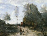 Road Camille Corot Landscape Painting Print CANVAS Giclee Reproduction Small Art