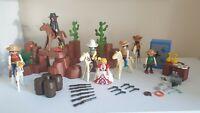 Playmobil Custom Western Cowboy Bundle Figures Horses Bank Safe & More