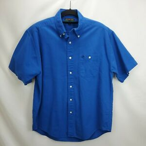 Vintage Colours Alexander Julian Mens Large Button Short Sleeve Shirt Royal Blue