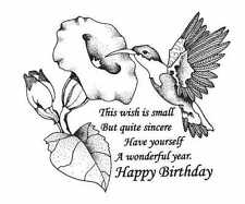 CREATIVE IMAGES CISTAMPS RUBBER STAMPS HAPPY BIRTHDAY HUMMINGBIRD NEW wood STAMP
