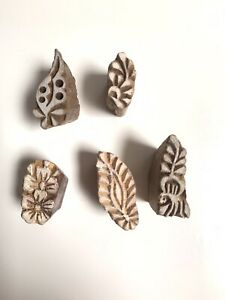 INDIAN HAND CARVED WOODEN BLOCK FOR PRINTING AND ARTS & CRAFTS - SET OF THREE