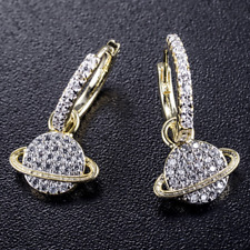 Moissanite Paved Planet Hook Earrings 14K Yellow Gold Plated Jewelry Gift Box