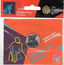 2012 50p OLYMPIC 28/29 Rugby su sedia a rotelle da appendere Borsa brillantemente BU $
