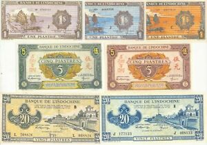 French Indo China 14 Note Set  1943 (COPY)