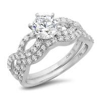 1.35ct Round Cut Bridal Engagement Wedding Ring Band Set 14k Solid White Gold