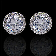 SM Women's 18K White Gold Plated Crystal Zircon Inlaid Ear Stud Earrings Jewelry