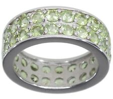 Peridot Gemstone Eternity 8mm Wide Sterling Silver Ring size P