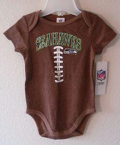 NWT Seattle Seahawks Infant Baby Fan Football Onesie Bodysuit 18M Brown MSRP$18