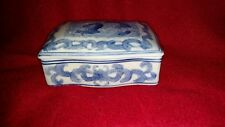 TRINKET JEWELRY BOX- PORCELAIN VINTAGE- BLUE AND WHITE WITH LID DRAGON MOTIF