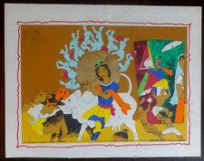 "M.F. Husain early Serigraph c.1990 Krishna on card 11"" x 14"""