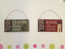 2 Country Accent Decor Wood Phrase Wall Sign Plaque Set Home Sweet Friends Leaf