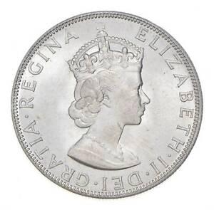 Choice BU Unc 1964 Bermuda 1 Crown Silver Coin - Mint State *802