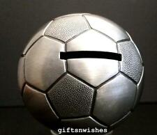 CUTE Soccer Ball Money Box Pewter Finish Baby Shower Christening Gift