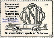 NSU Neckarsulm Reklame von 1924 Auto Motorrad Fahrrad Werbung ad Atelier Scherl
