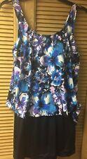 NWT Le Cove Blue & Black Floral One-Piece Swimsuit Swimdress Size 18 Retail $96
