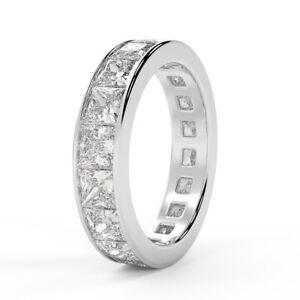 100% natur 1.50ct Prinzessin Diamant Vollständige Eternity Ring in Weißgold