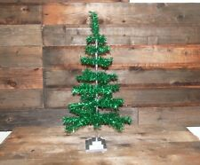 """Retro Style Green Christmas Holiday Aluminum Green Tinsel Feather Tree 36"""""""