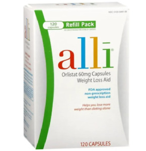 Alli Weight Loss Supplement with Orlistat, 60 mg, 120 Capsules