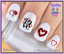 Nail Art V7614 Valentines Red Roses Love Heart WaterSlide Nail Decals Transfers